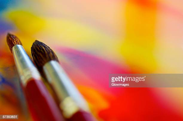 High angle view of two paintbrushes