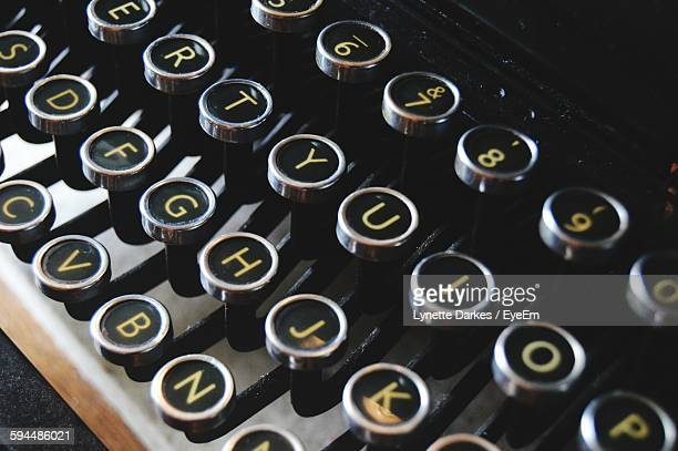 High Angle View Of Typewriter Keyboard