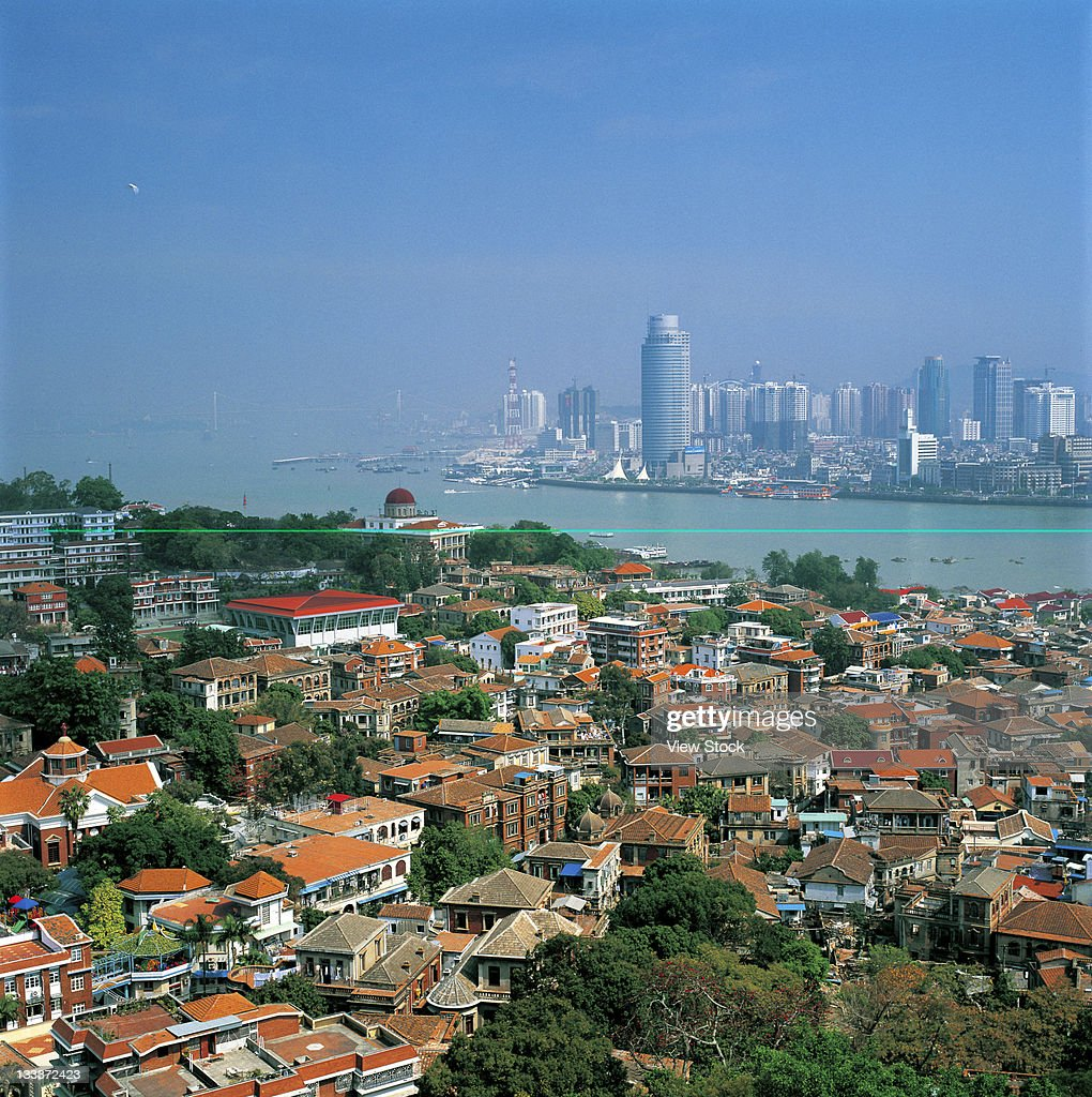 high angle view of urban scene of Xiamen,Fujian,China : Stock Photo