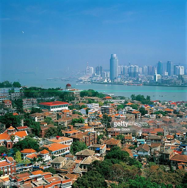 high angle view of urban scene of Xiamen,Fujian,China