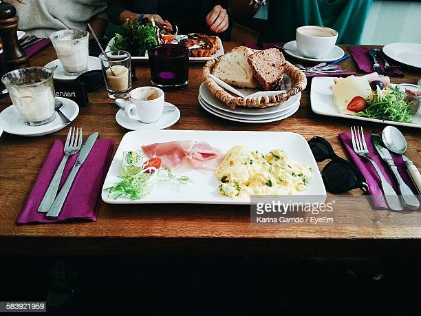 High Angle View Of Various Breakfast On Table