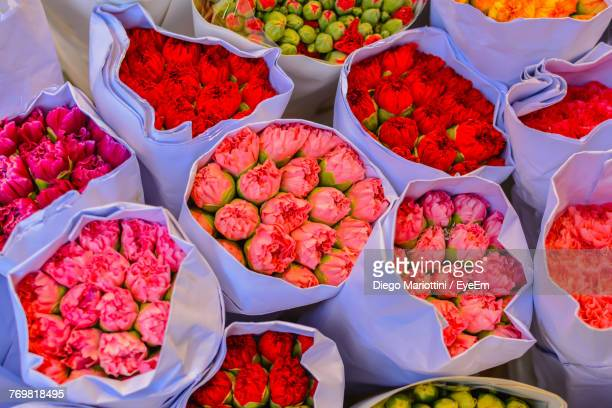 High Angle View Of Various Flowers For Sale At Market