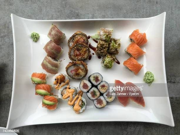 High Angle View Of Various Sushi Served In Plate On Table