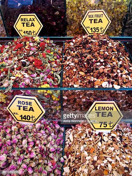 High Angle View Of Various Tea Leaves Displayed At Market Stall
