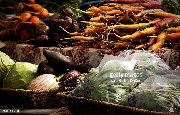 High Angle View Of Various Vegetables On Display