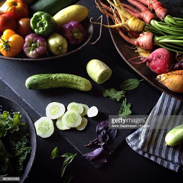 High Angle View Of Various Vegetables On Kitchen Counter