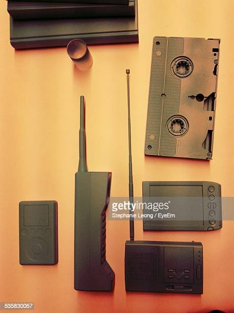High Angle View Of Various Wireless Technology