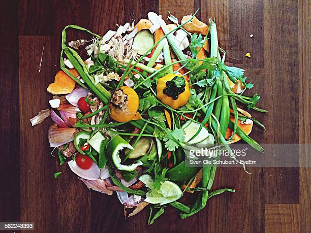 High Angle View Of Vegetable Garbage
