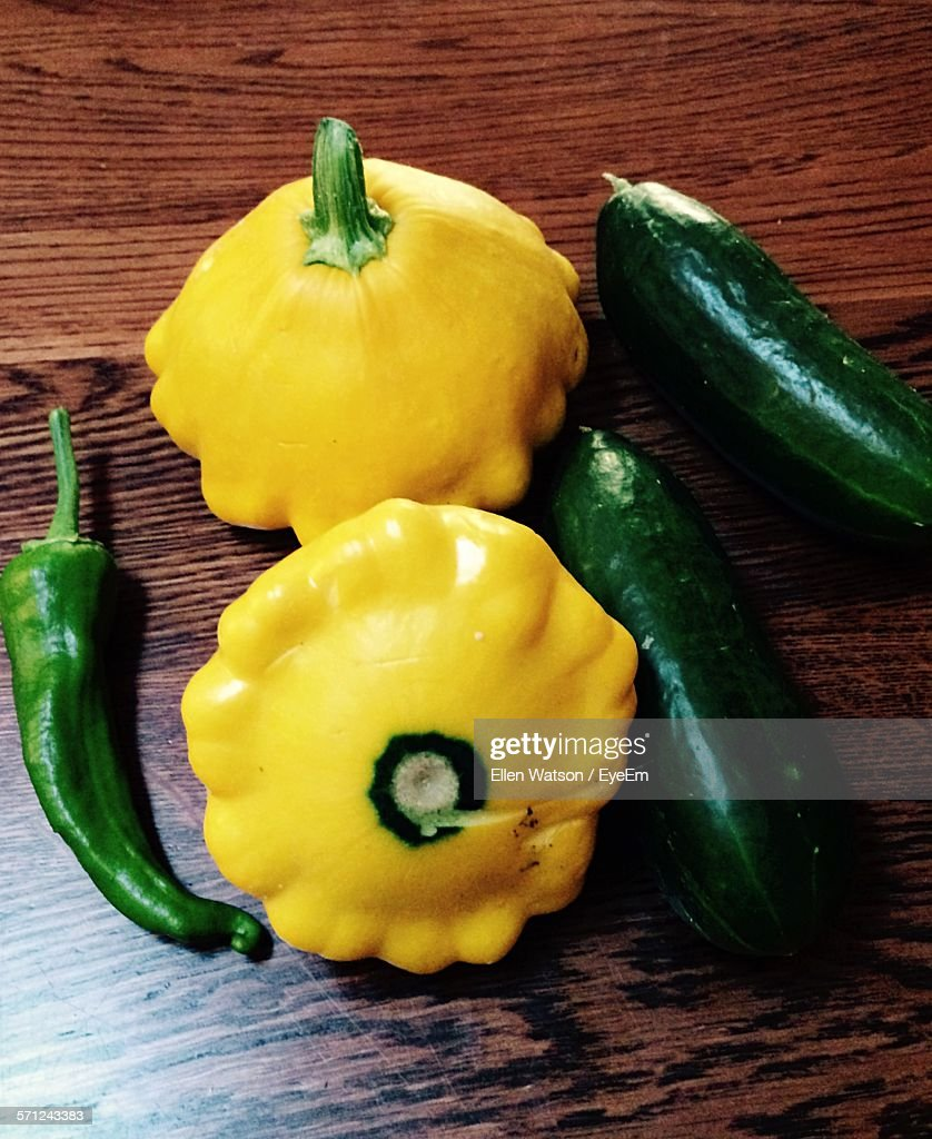 High Angle View Of Vegetable On Wooden Table