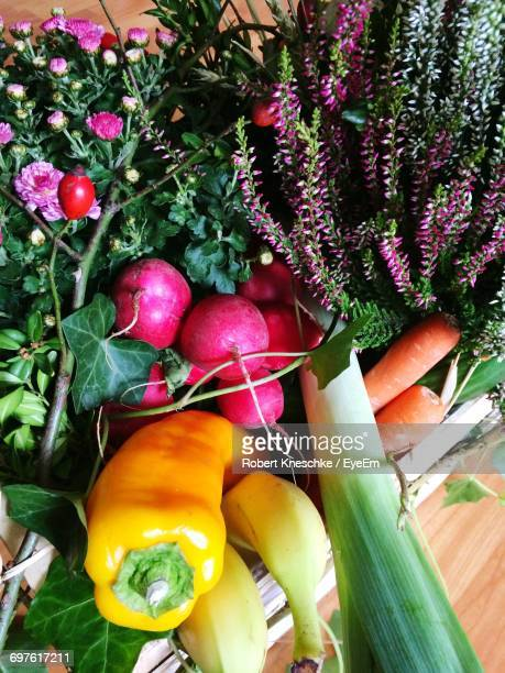 High Angle View Of Vegetables And Plants In Crate