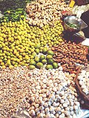 High Angle View Of Vegetables And Spices For Sale In Market