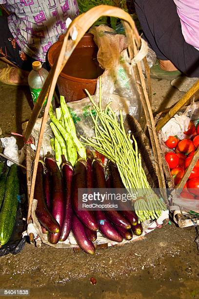 High angle view of vegetables at a market stall, XingPing, Yangshuo, Guangxi Province, China