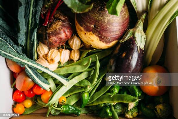 High Angle View Of Vegetables In Box