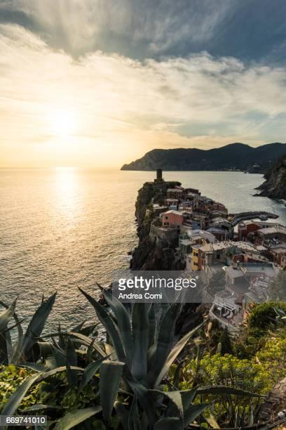High angle view of Vernazza at sunset. Cinque Terre, La Spezia, Liguria