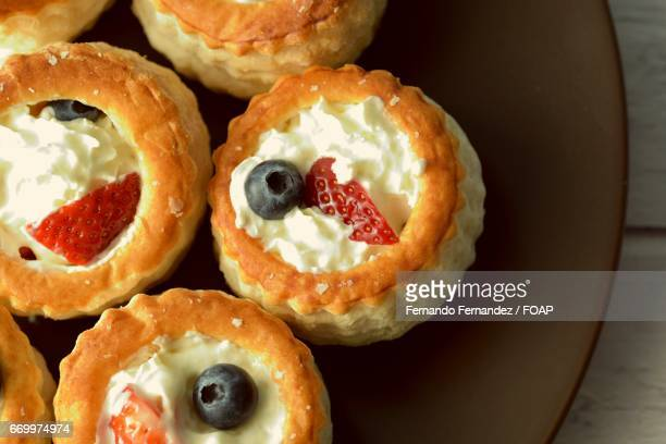 High angle view of vol-au-vents