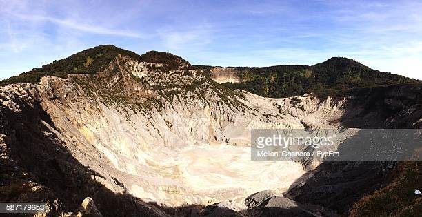 High Angle View Of Volcanic Crater Against Sky