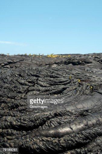 High angle view of volcanic landscape, Kalapana, Big Island, Hawaii Islands, USA : Foto de stock