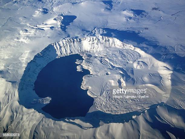 High Angle View Of Volcano Containing Crater Lake