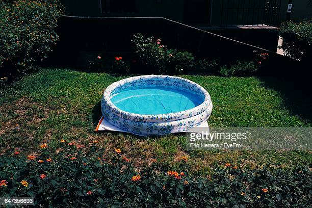 High Angle View Of Wading Pool In Yard
