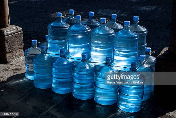 High Angle View Of Water Bottle Stacks