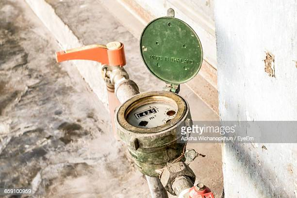 High Angle View Of Water Meter