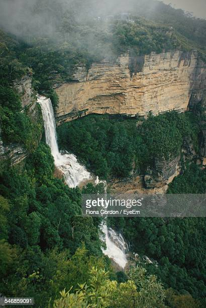 High Angle View Of Waterfall At Blue Mountains National Park