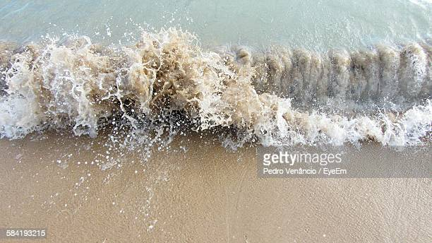 High Angle View Of Waves At Beach