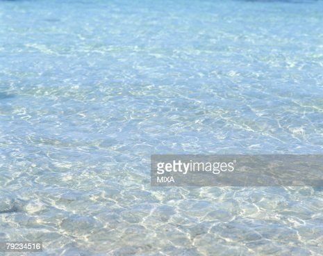 High angle view of waves of sea in Tahiti : Stock Photo