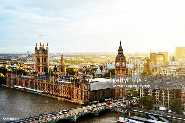 High Angle View Of Westminster Bridge By Big Ben Against Sky