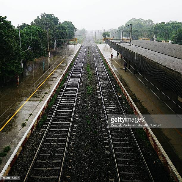 High Angle View Of Wet Railroad Station During Rainfall