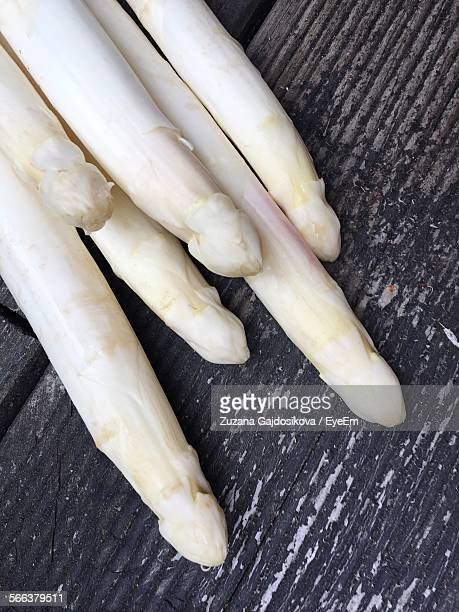 High Angle View Of White Asparaguses On Table
