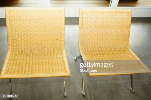 High angle view of wicker chairs : Foto de stock