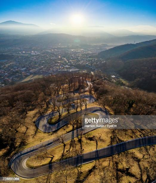 High Angle View Of Winding Road Against Sky
