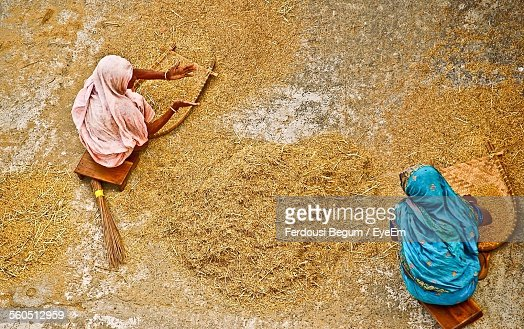 High Angle View Of Women Winnowing Rice