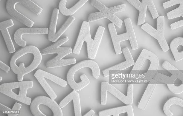 High Angle View Of Wooden Alphabet Letters