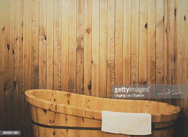 High Angle View Of Wooden Bathtub In Bathroom