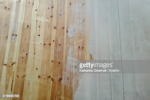 High Angle View Of Wooden Floor With Dust