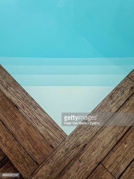 High Angle View Of Wooden Pool Board