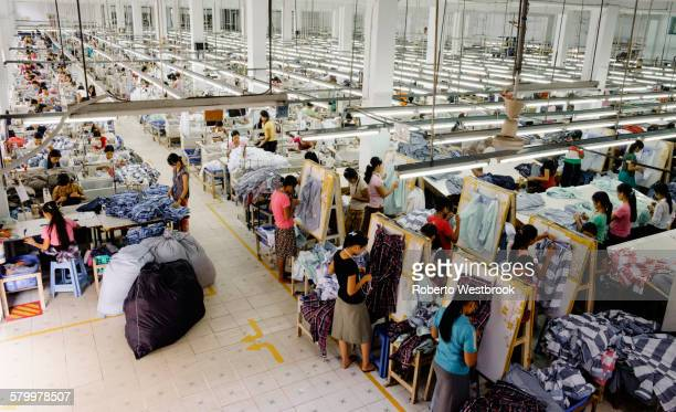 High angle view of workers in garment factory