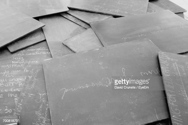 High Angle View Of Writing Slates