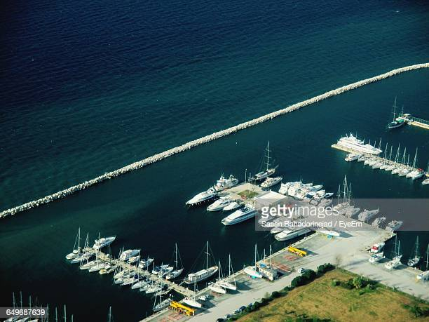 High Angle View Of Yacht Boats Moored At Harbor