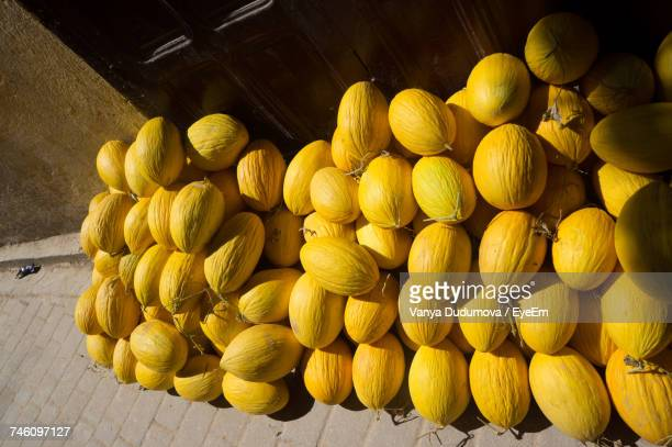 High Angle View Of Yellow Melons On Sunny Day