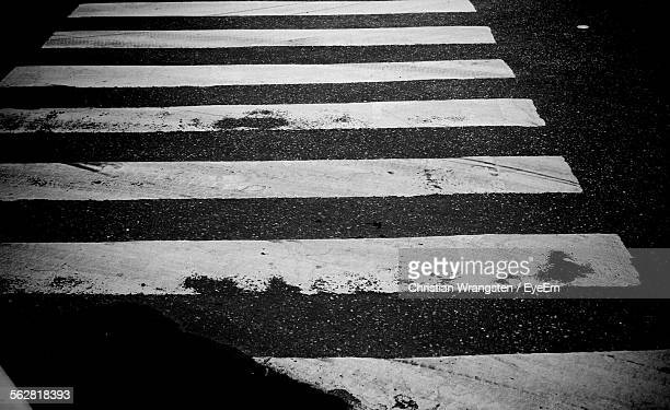High Angle View Of Zebra Crossing On Street