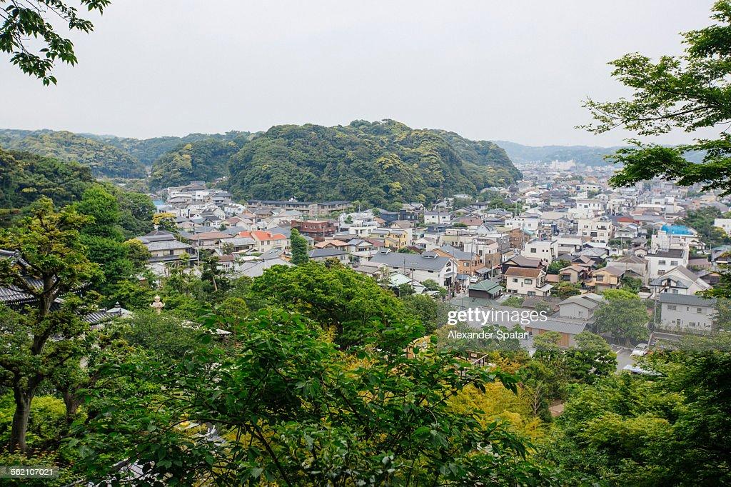 High angle view over Kamakura town, Japan