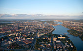 High angle view over Stockholm city