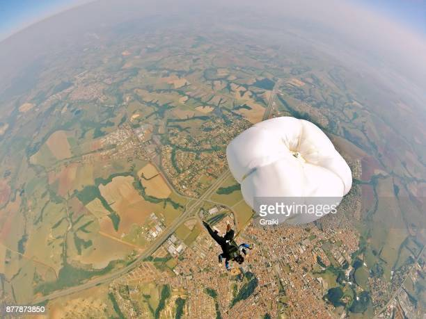 High angle view skydive tandem