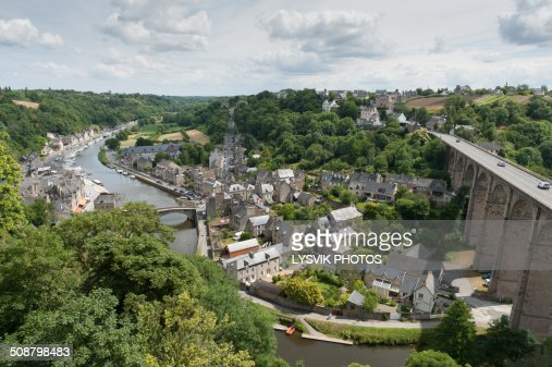 High angle viewpoint overlooking the river Rance