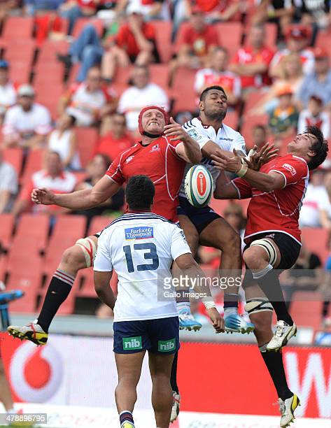 High ball during the Super Rugby match between Lions and Blues at Ellis Park on March 15 2014 in Johannesburg South Africa