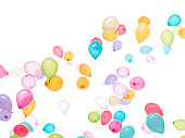 white background: a lot of colourful balloons