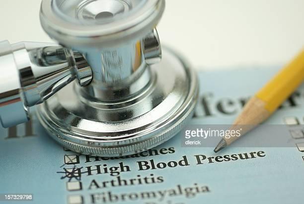 high blood pressure and stethoscope